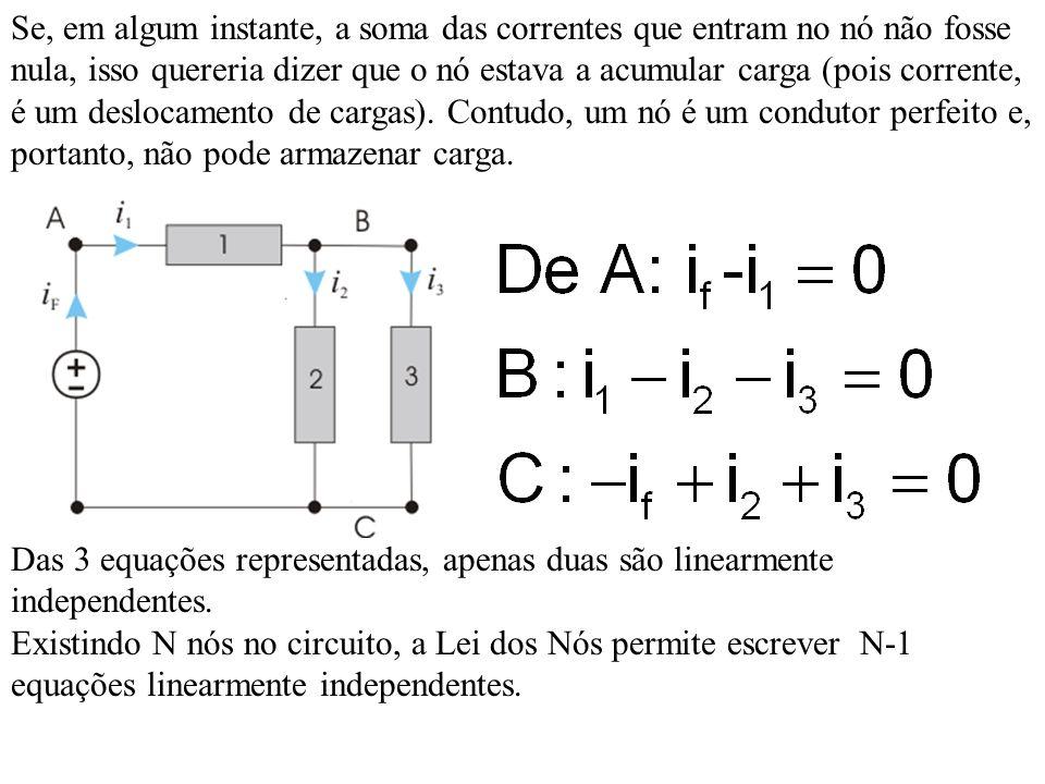 Apenas com o conhecimento dos elementos que constituem o circuito e respectivas equações características, não é possivel determinar a totalidade das tensões e correntes presentes num circuito.