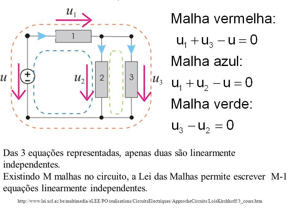 Lei das Malhas A Lei das Malhas determina que, em qualquer instante, é nula a soma algébrica das tensões ao longo de qualquer malha.