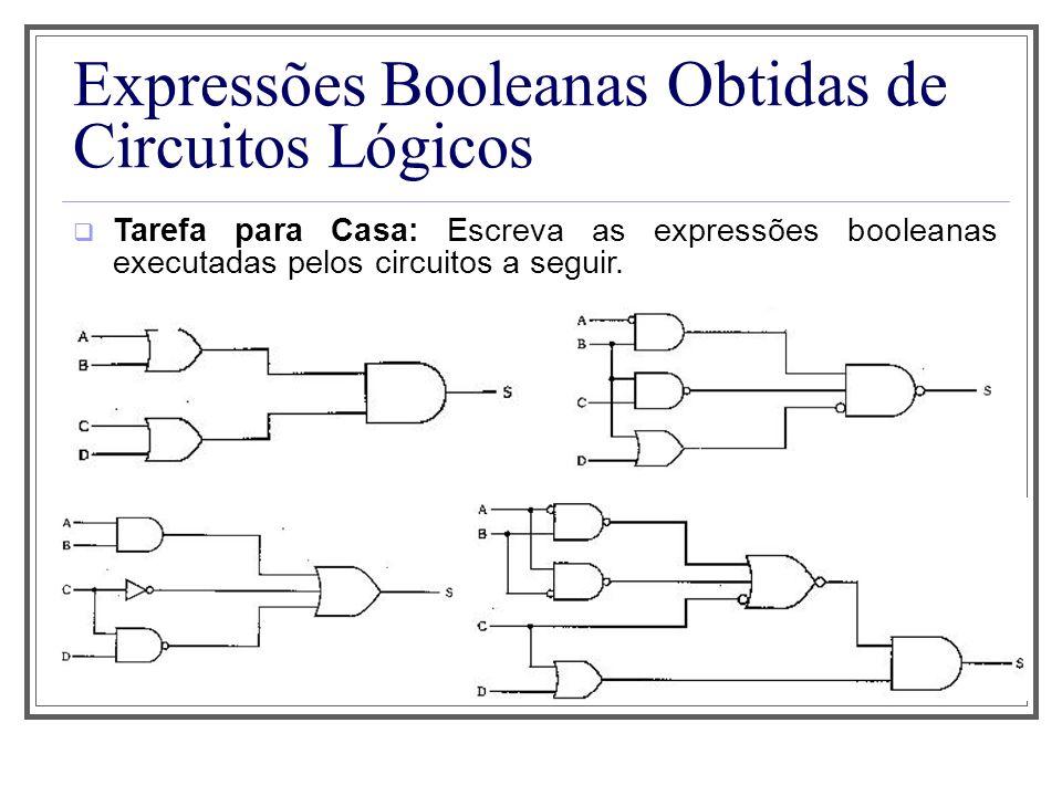 Expressões Booleanas Obtidas de Circuitos Lógicos Tarefa para Casa: Escreva as expressões booleanas executadas pelos circuitos a seguir.