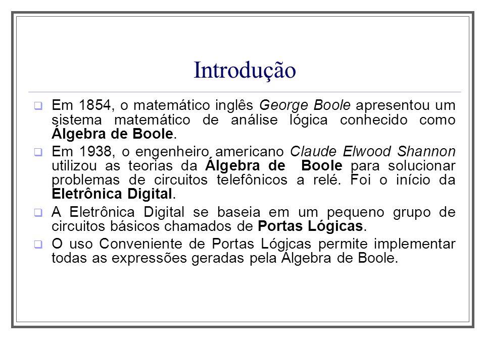 Introdução Em 1854, o matemático inglês George Boole apresentou um sistema matemático de análise lógica conhecido como Álgebra de Boole. Em 1938, o en