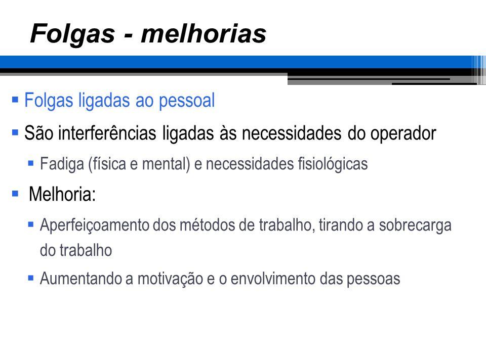 Folgas - melhorias Folgas ligadas ao pessoal São interferências ligadas às necessidades do operador Fadiga (física e mental) e necessidades fisiológic