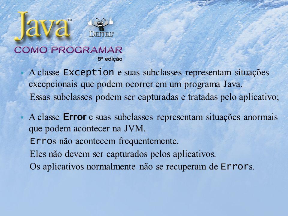 A classe Exception e suas subclasses representam situações excepcionais que podem ocorrer em um programa Java.