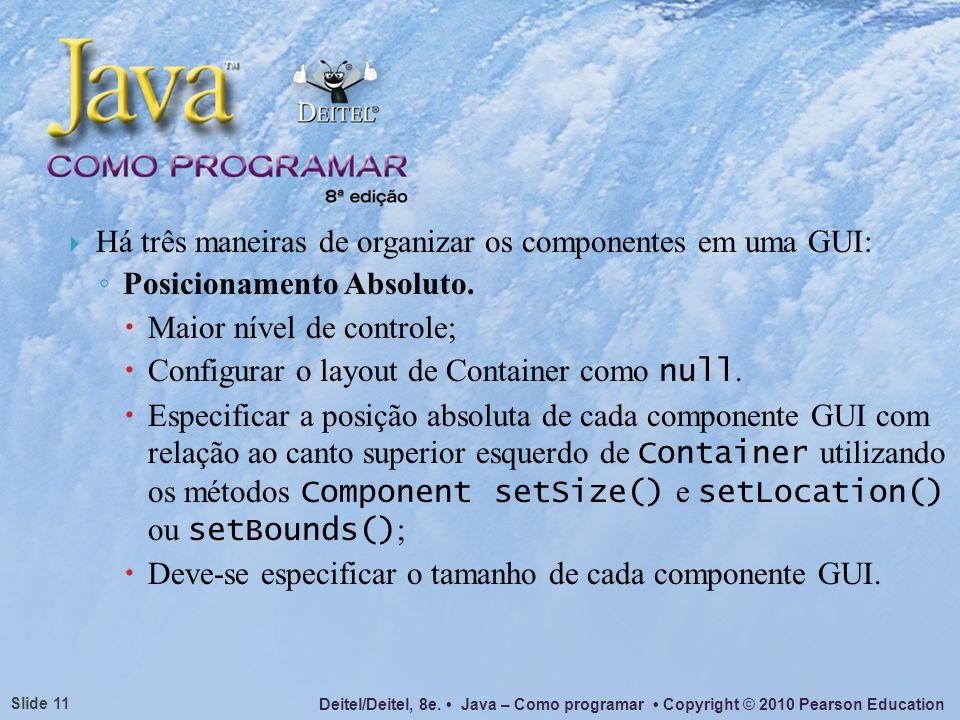 Deitel/Deitel, 8e. Java – Como programar Copyright © 2010 Pearson Education Slide 11 Há três maneiras de organizar os componentes em uma GUI: Posicion