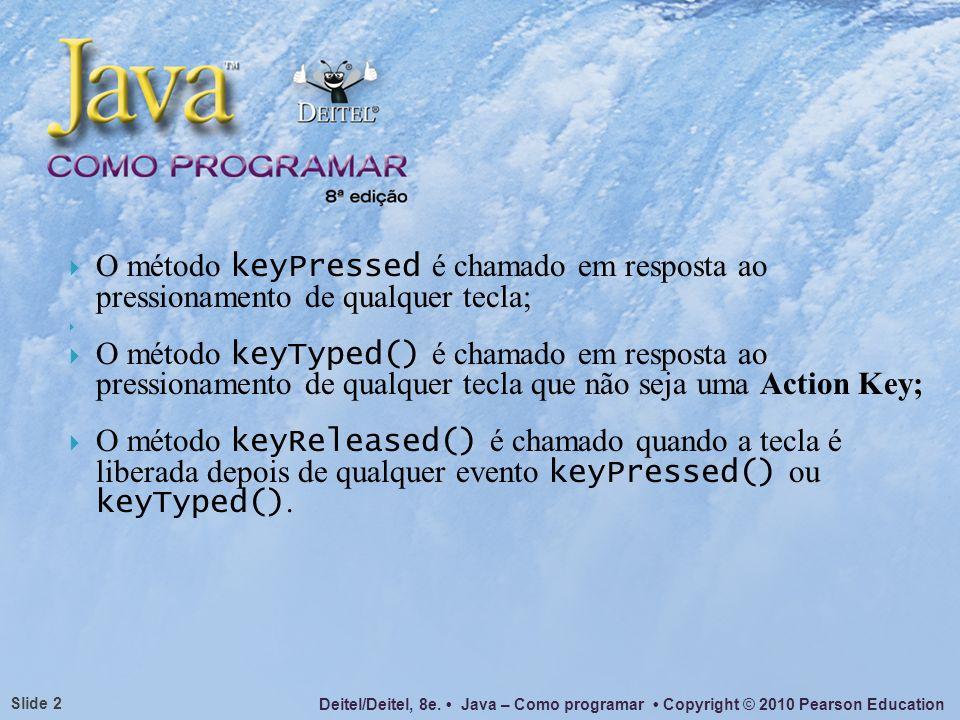 Deitel/Deitel, 8e. Java – Como programar Copyright © 2010 Pearson Education Slide 2 O método keyPressed é chamado em resposta ao pressionamento de qua