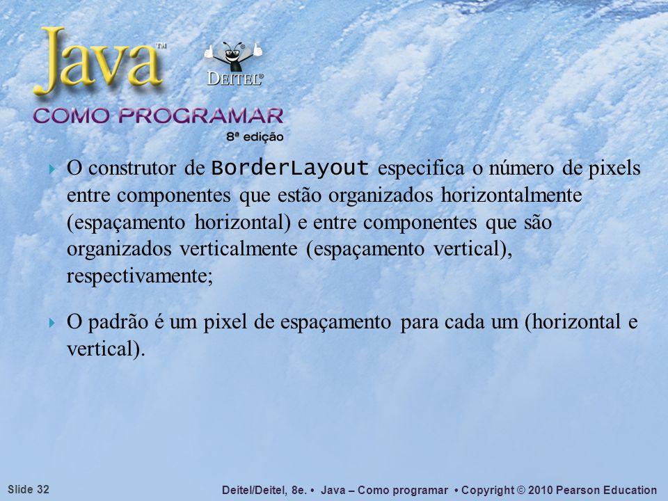 Deitel/Deitel, 8e. Java – Como programar Copyright © 2010 Pearson Education Slide 32 O construtor de BorderLayout especifica o número de pixels entre