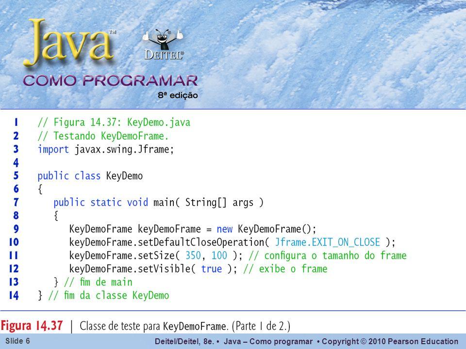 Deitel/Deitel, 8e. Java – Como programar Copyright © 2010 Pearson Education Slide 27
