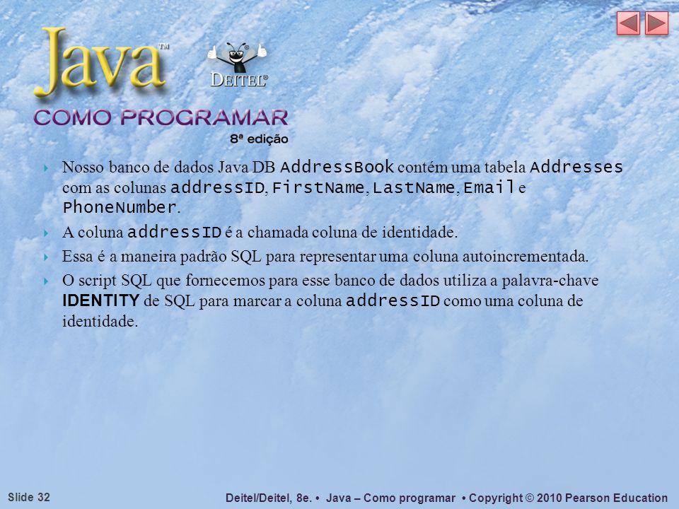 Deitel/Deitel, 8e. Java – Como programar Copyright © 2010 Pearson Education Slide 32 Nosso banco de dados Java DB AddressBook contém uma tabela Addres