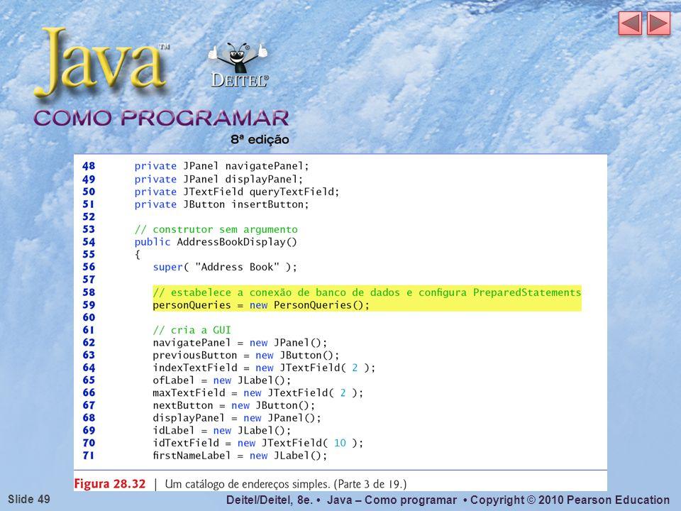 Deitel/Deitel, 8e. Java – Como programar Copyright © 2010 Pearson Education Slide 49