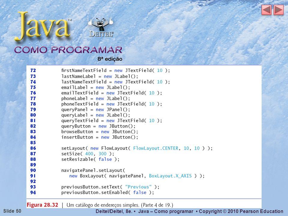 Deitel/Deitel, 8e. Java – Como programar Copyright © 2010 Pearson Education Slide 50