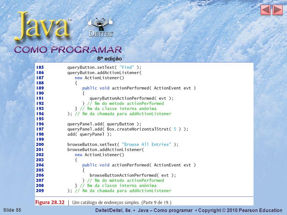 Deitel/Deitel, 8e. Java – Como programar Copyright © 2010 Pearson Education Slide 55