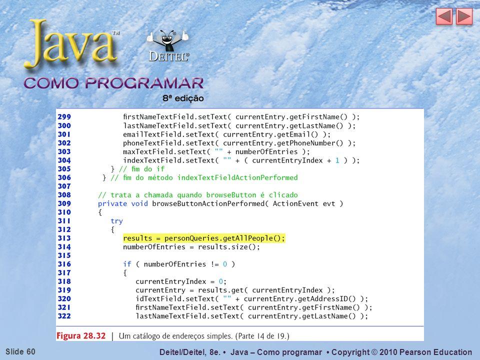 Deitel/Deitel, 8e. Java – Como programar Copyright © 2010 Pearson Education Slide 60