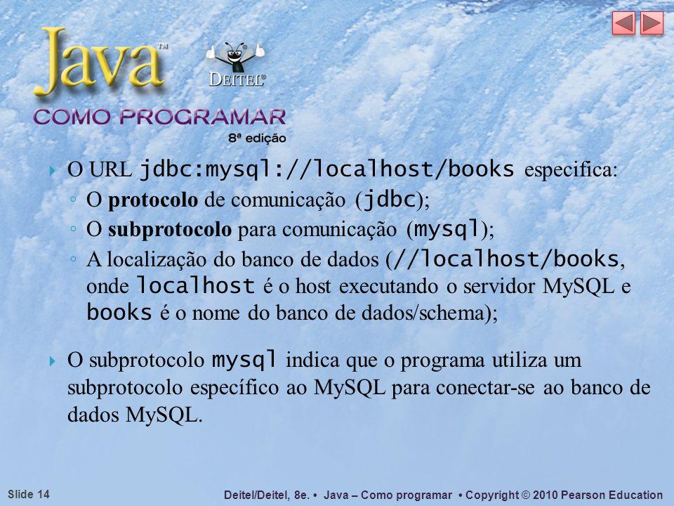 Deitel/Deitel, 8e. Java – Como programar Copyright © 2010 Pearson Education Slide 14 O URL jdbc:mysql://localhost/books especifica: O protocolo de com