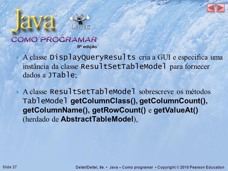 Deitel/Deitel, 8e. Java – Como programar Copyright © 2010 Pearson Education Slide 27 A classe DisplayQueryResults cria a GUI e especifica uma instânci
