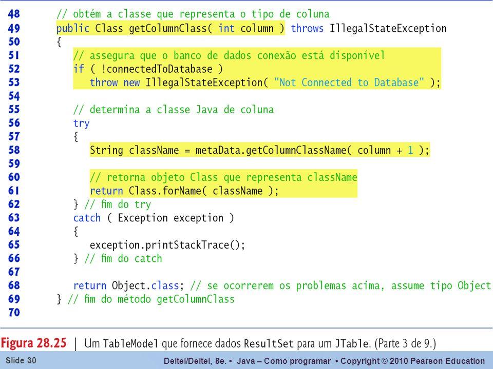 Deitel/Deitel, 8e. Java – Como programar Copyright © 2010 Pearson Education Slide 30