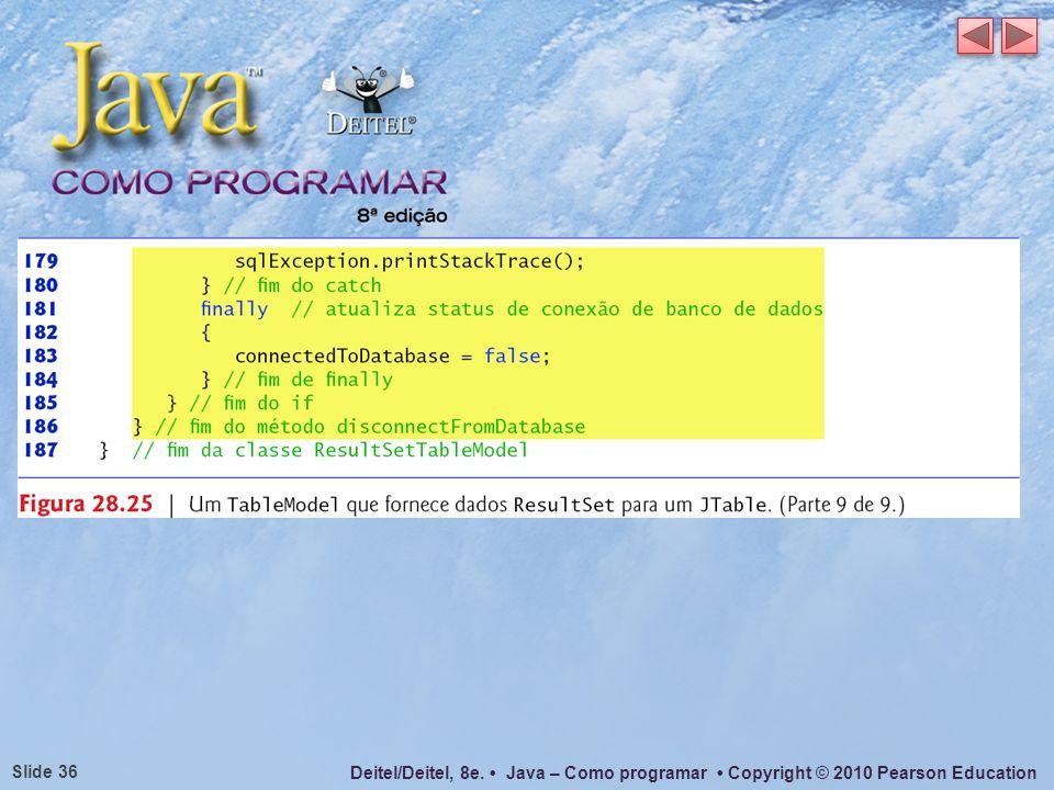 Deitel/Deitel, 8e. Java – Como programar Copyright © 2010 Pearson Education Slide 36