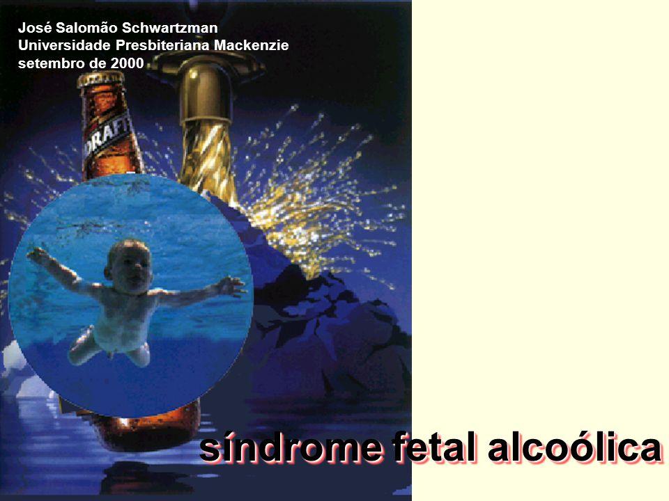 síndrome fetal alcoólica (SFA) critérios diagnósticos A - anormalidades faciais características B - retardo no crescimento (pré e/ou pósnatal) C - disfunções do sistema nervoso central (SNC) para o diagnóstico da SFA devem estar presentes alterações em A, B e C quadros parciais têm sido denominados de efeitos fetais do álcool (EFA), defeitos congênitos relacionados ao álcool (DCRA) e distúrbios do desenvolvimento relacionados ao álcool (DDRA)