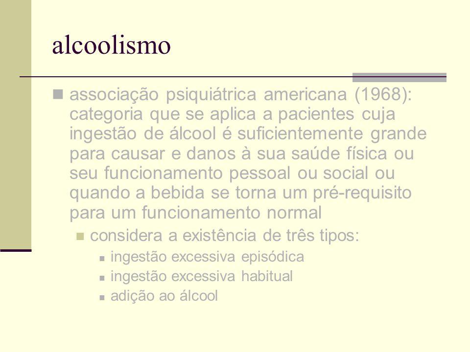 alcoolismo associação médica americana (1977): o alcoolismo é uma doença caracterizada por prejuízos significativos diretamente associados com o uso persistente e excessivo de álcool; os prejuízos podem envolver disfunções fisiológicas, psicológicas ou sociais