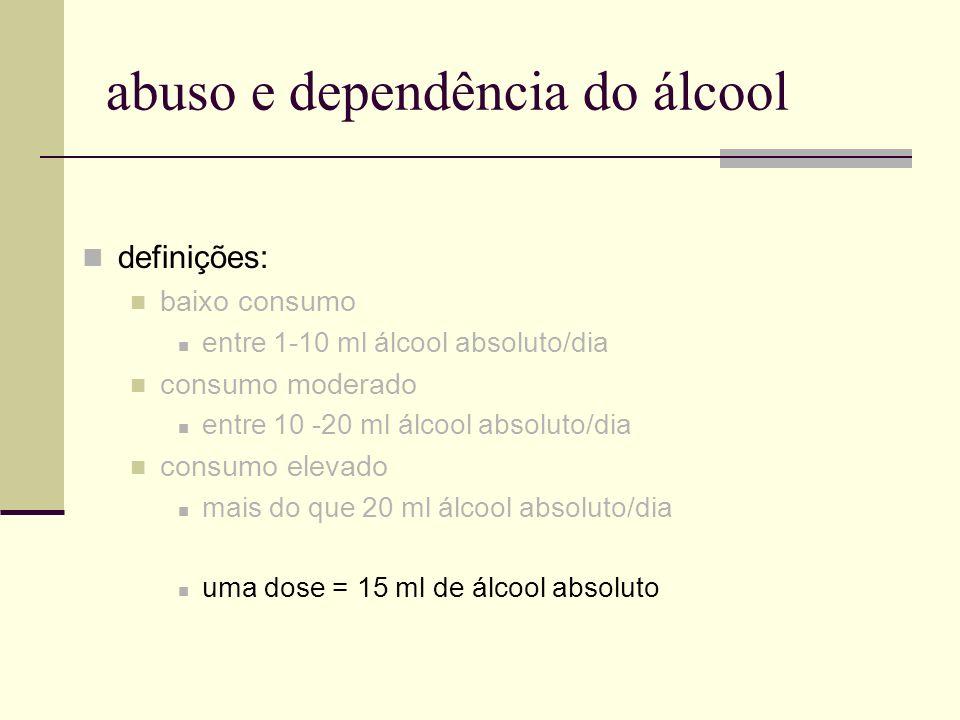 abuso e dependência do álcool definições: baixo consumo entre 1-10 ml álcool absoluto/dia consumo moderado entre 10 -20 ml álcool absoluto/dia consumo