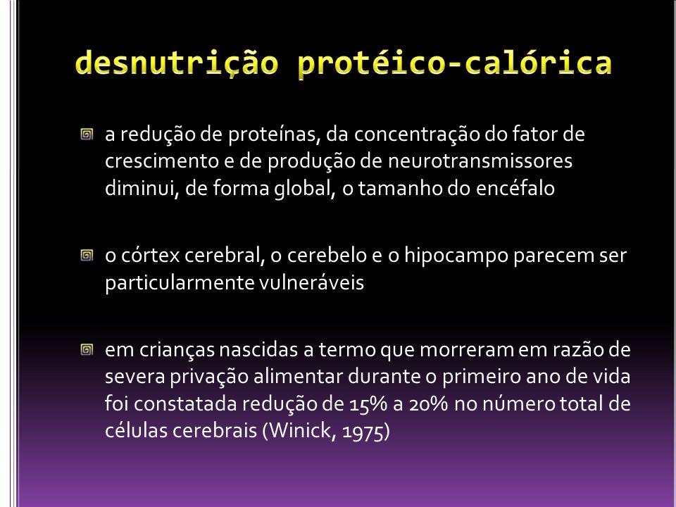 a redução de proteínas, da concentração do fator de crescimento e de produção de neurotransmissores diminui, de forma global, o tamanho do encéfalo o