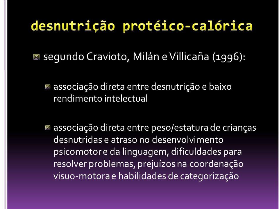 segundo Cravioto, Milán e Villicaña (1996): associação direta entre desnutrição e baixo rendimento intelectual associação direta entre peso/estatura d