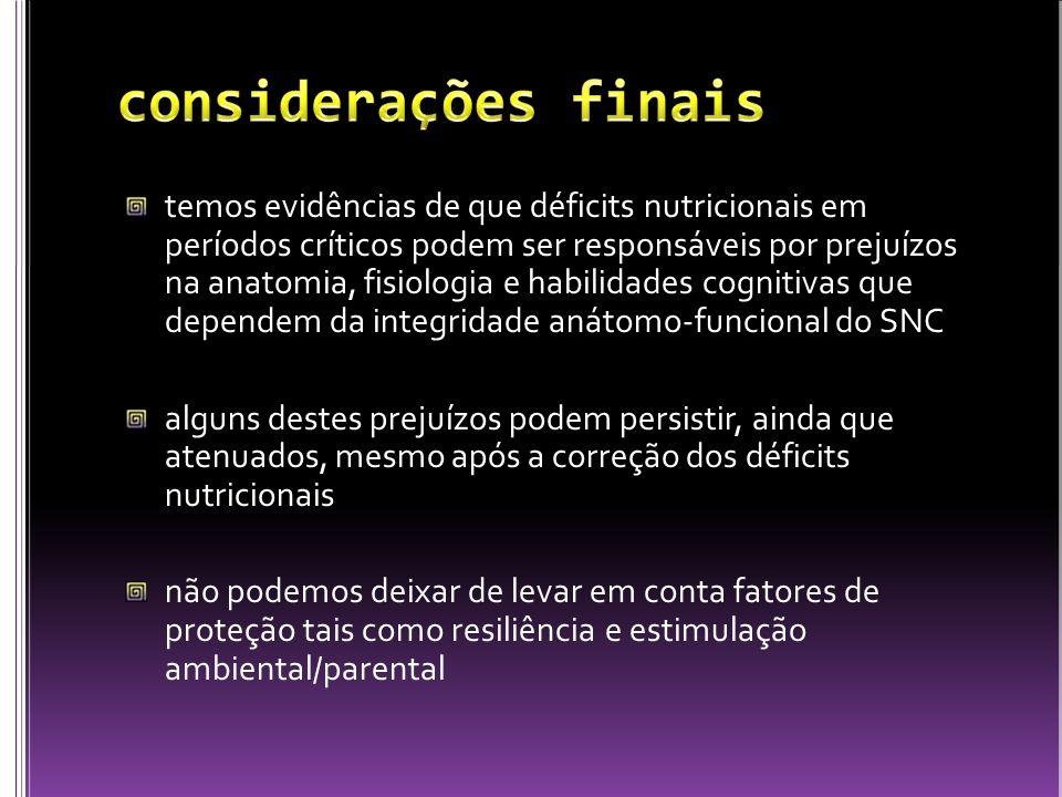 temos evidências de que déficits nutricionais em períodos críticos podem ser responsáveis por prejuízos na anatomia, fisiologia e habilidades cognitiv