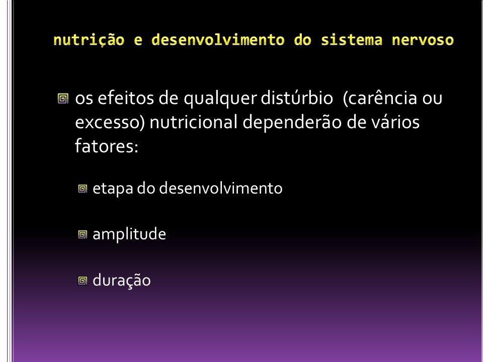 os efeitos de qualquer distúrbio (carência ou excesso) nutricional dependerão de vários fatores: etapa do desenvolvimento amplitude duração