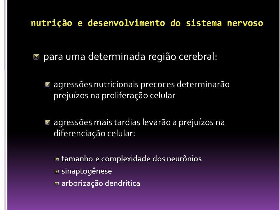 para uma determinada região cerebral: agressões nutricionais precoces determinarão prejuízos na proliferação celular agressões mais tardias levarão a
