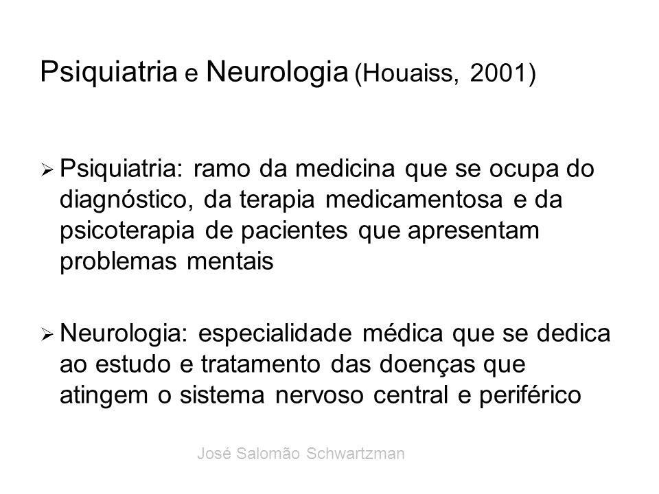 Psiquiatria e Neurologia (Houaiss, 2001) Psiquiatria: ramo da medicina que se ocupa do diagnóstico, da terapia medicamentosa e da psicoterapia de paci