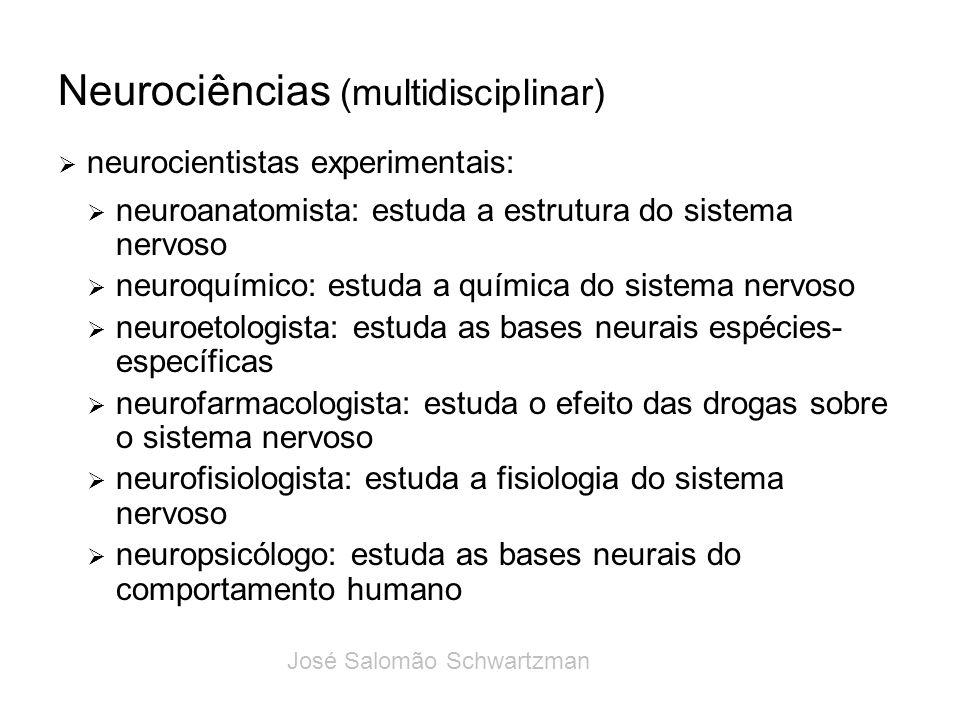 Neurociências (multidisciplinar) neurocientistas experimentais: neuroanatomista: estuda a estrutura do sistema nervoso neuroquímico: estuda a química