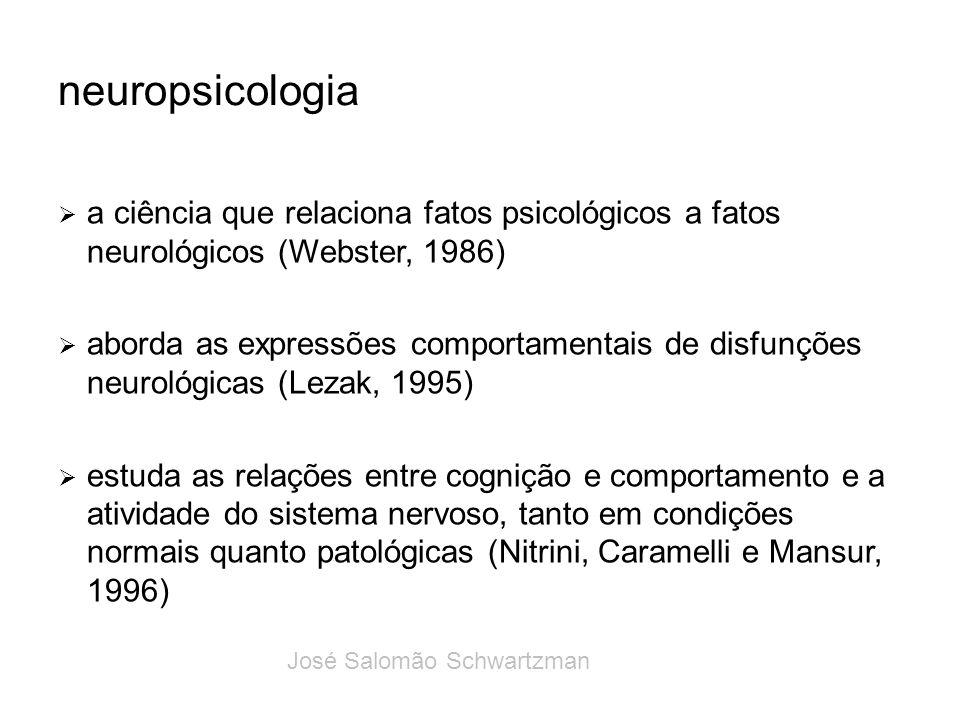 neuropsicologia a ciência que relaciona fatos psicológicos a fatos neurológicos (Webster, 1986) aborda as expressões comportamentais de disfunções neu