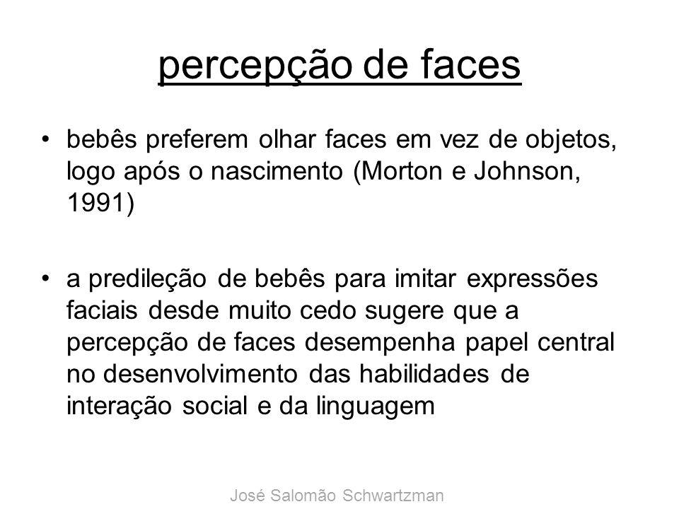 percepção de faces bebês preferem olhar faces em vez de objetos, logo após o nascimento (Morton e Johnson, 1991) a predileção de bebês para imitar exp