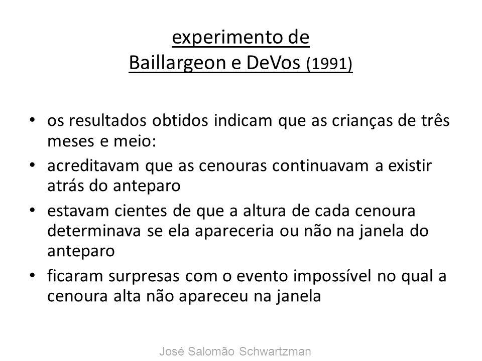 experimento de Baillargeon e DeVos (1991) os resultados obtidos indicam que as crianças de três meses e meio: acreditavam que as cenouras continuavam