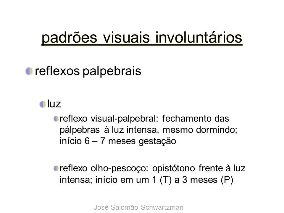 padrões visuais involuntários reflexos palpebrais som moderado: aumenta a fenda palpebral alto: reflexo cocleo-palpebral fecha os olhos; início aos 6 – 7 meses (F) José Salomão Schwartzman