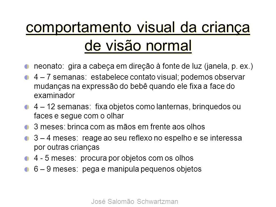 comportamento visual da criança de visão normal neonato: gira a cabeça em direção à fonte de luz (janela, p. ex.) 4 – 7 semanas: estabelece contato vi
