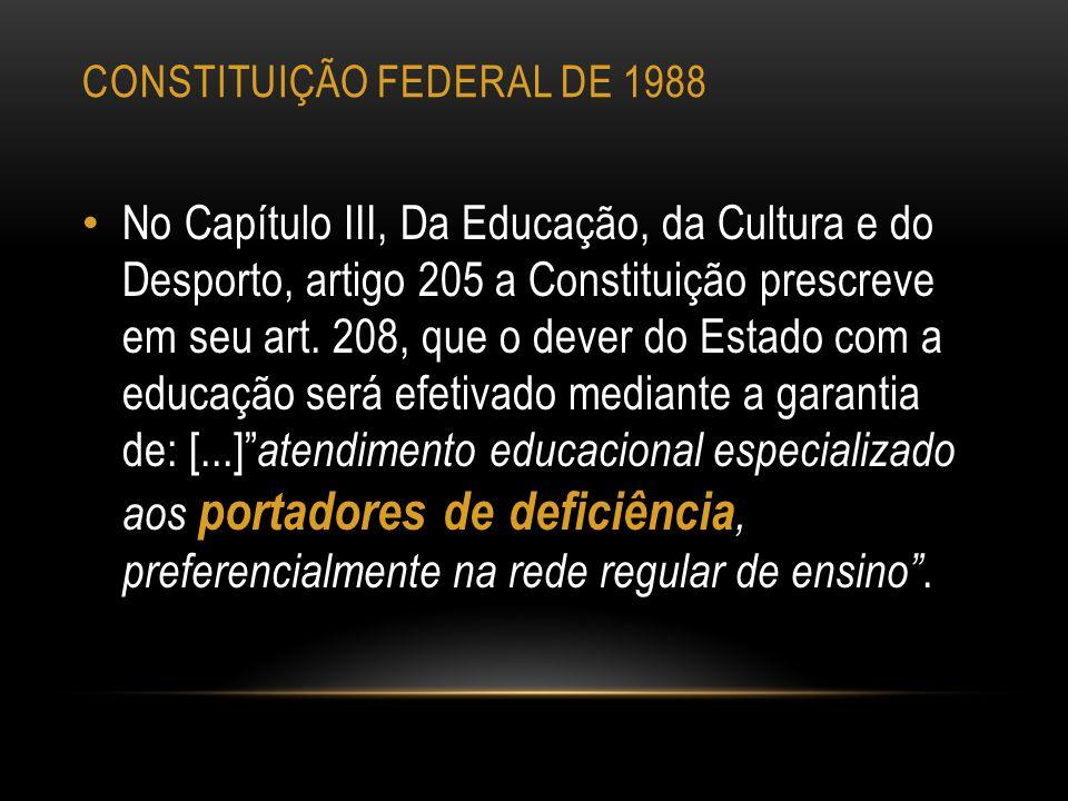 CONSTITUIÇÃO FEDERAL DE 1988 No Capítulo III, Da Educação, da Cultura e do Desporto, artigo 205 a Constituição prescreve em seu art. 208, que o dever