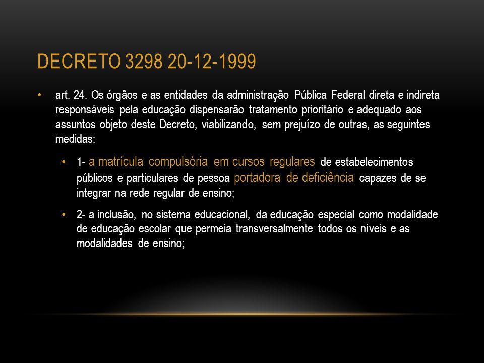 DECRETO 3298 20-12-1999 art. 24. Os órgãos e as entidades da administração Pública Federal direta e indireta responsáveis pela educação dispensarão tr