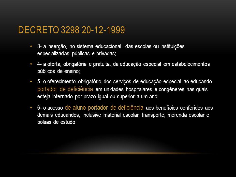 DECRETO 3298 20-12-1999 3- a inserção, no sistema educacional, das escolas ou instituições especializadas públicas e privadas; 4- a oferta, obrigatóri
