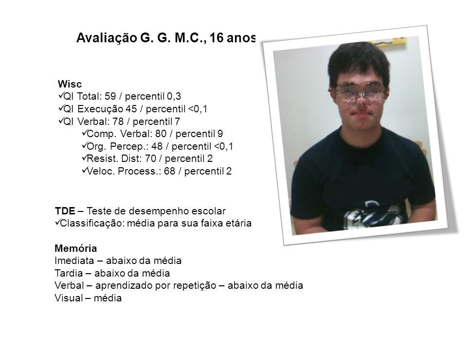 Avaliação G. G. M.C., 16 anos Wisc QI Total: 59 / percentil 0,3 QI Execução 45 / percentil <0,1 QI Verbal: 78 / percentil 7 Comp. Verbal: 80 / percent