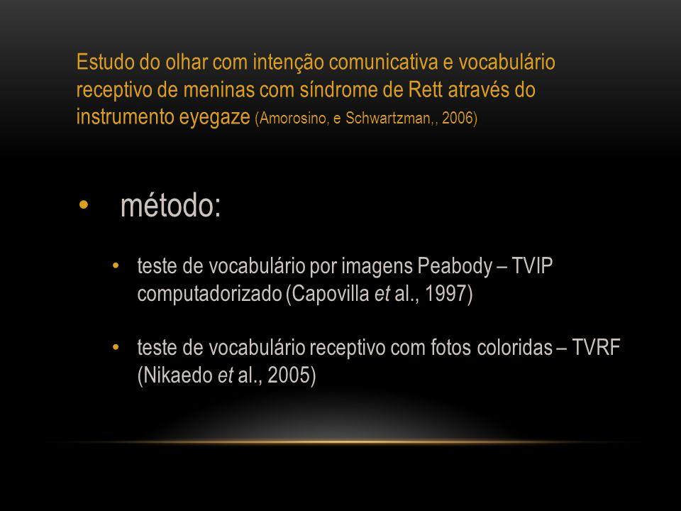 Estudo do olhar com intenção comunicativa e vocabulário receptivo de meninas com síndrome de Rett através do instrumento eyegaze (Amorosino, e Schwart
