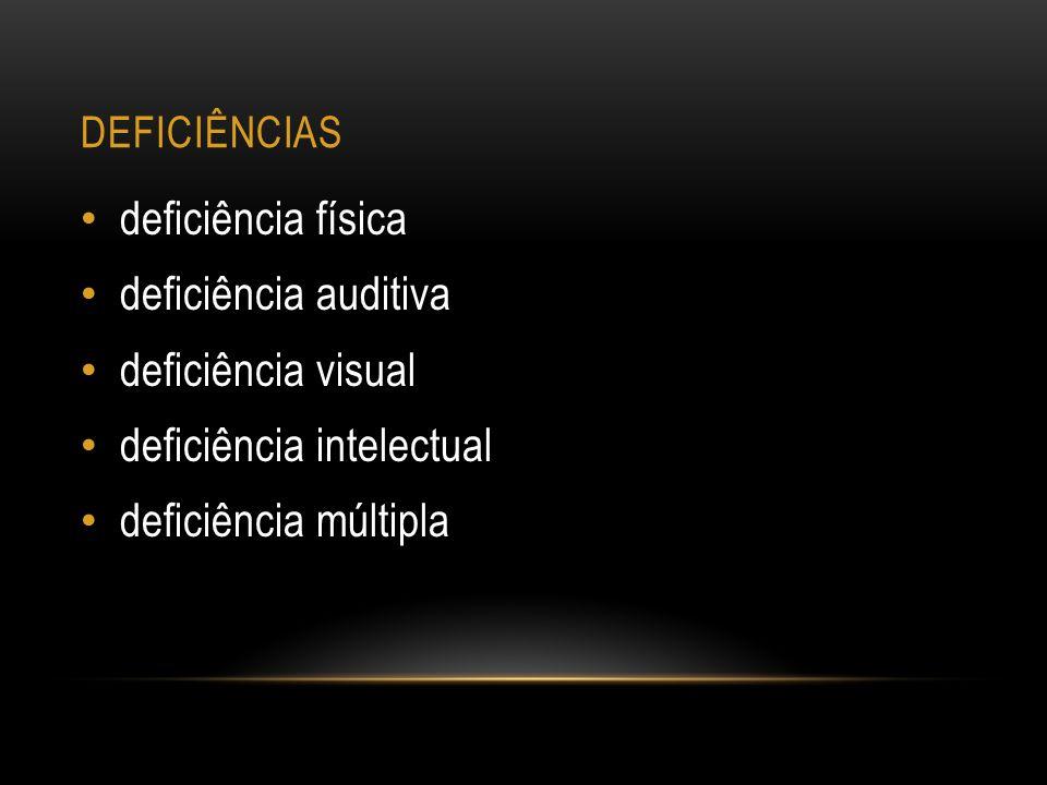 DEFICIÊNCIAS deficiência física deficiência auditiva deficiência visual deficiência intelectual deficiência múltipla