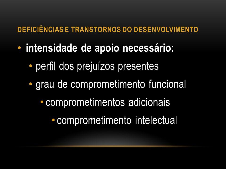 DEFICIÊNCIAS E TRANSTORNOS DO DESENVOLVIMENTO intensidade de apoio necessário: perfil dos prejuízos presentes grau de comprometimento funcional compro