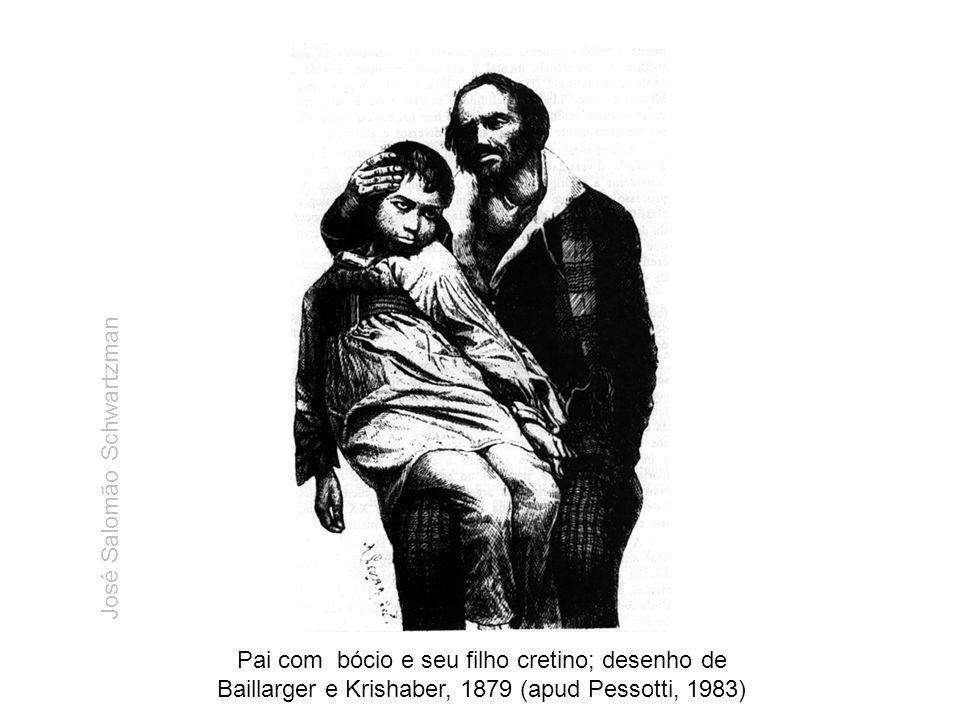 Pai com bócio e seu filho cretino; desenho de Baillarger e Krishaber, 1879 (apud Pessotti, 1983) José Salomão Schwartzman