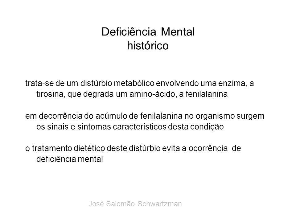 Deficiência Mental histórico trata-se de um distúrbio metabólico envolvendo uma enzima, a tirosina, que degrada um amino-ácido, a fenilalanina em deco