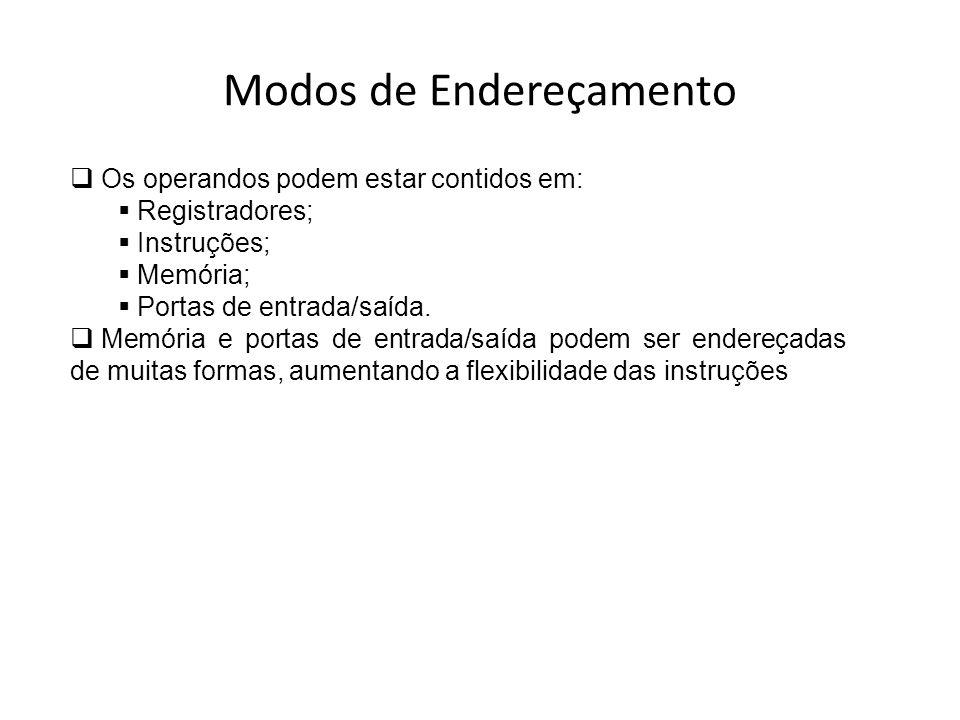 Modos de Endereçamento Os operandos podem estar contidos em: Registradores; Instruções; Memória; Portas de entrada/saída. Memória e portas de entrada/