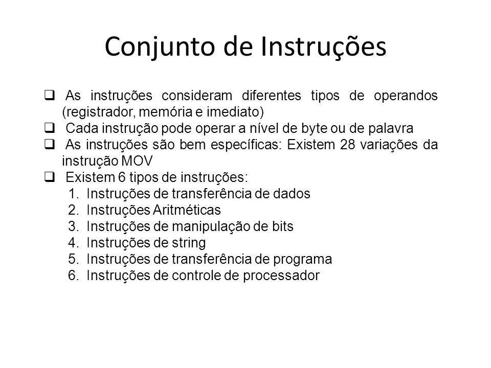 Conjunto de Instruções As instruções consideram diferentes tipos de operandos (registrador, memória e imediato) Cada instrução pode operar a nível de