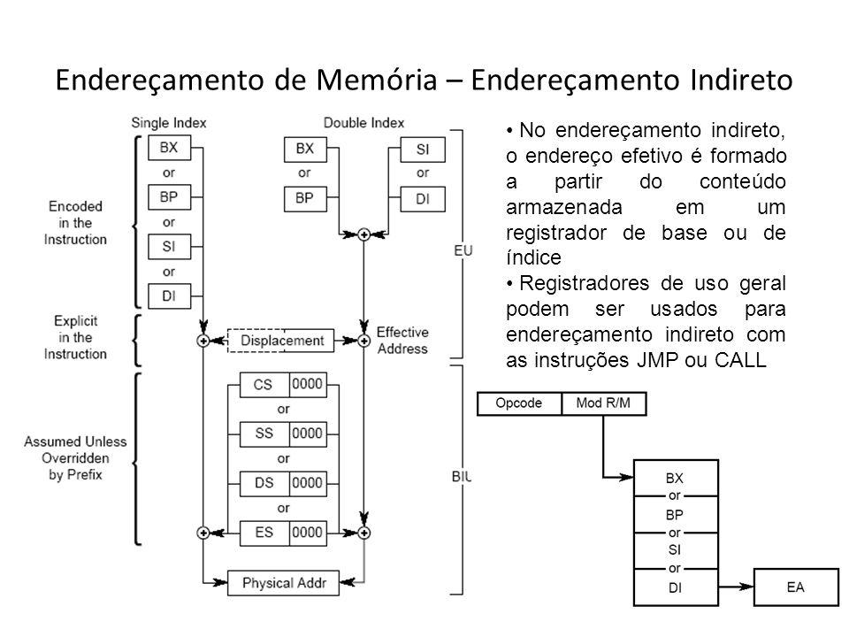 Endereçamento de Memória – Endereçamento Indireto No endereçamento indireto, o endereço efetivo é formado a partir do conteúdo armazenada em um regist