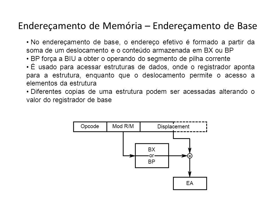 Endereçamento de Memória – Endereçamento de Base No endereçamento de base, o endereço efetivo é formado a partir da soma de um deslocamento e o conteú