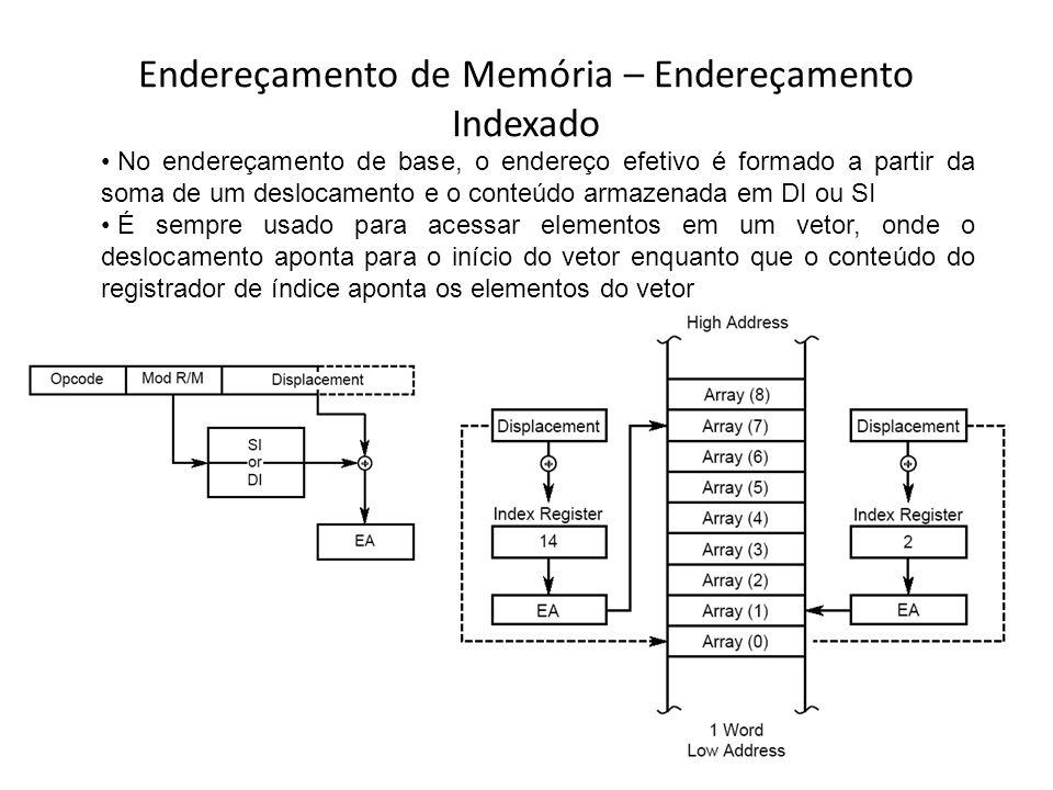 Endereçamento de Memória – Endereçamento Indexado No endereçamento de base, o endereço efetivo é formado a partir da soma de um deslocamento e o conte