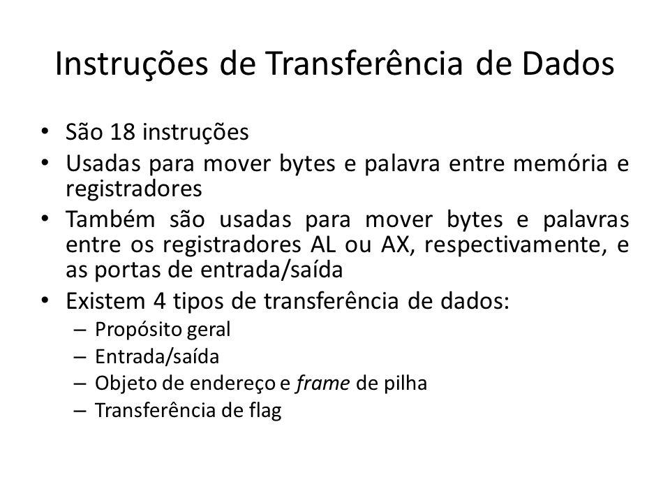 Instruções de Transferência de Dados São 18 instruções Usadas para mover bytes e palavra entre memória e registradores Também são usadas para mover by