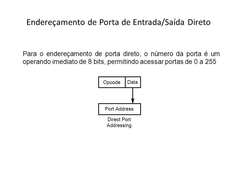 Endereçamento de Porta de Entrada/Saída Direto Para o endereçamento de porta direto, o número da porta é um operando imediato de 8 bits, permitindo ac